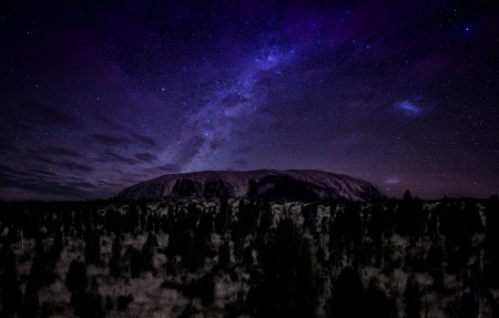 澳大利亚 艾尔斯岩 无月亮的夜晚 星空 4K风景高端电脑桌面壁纸