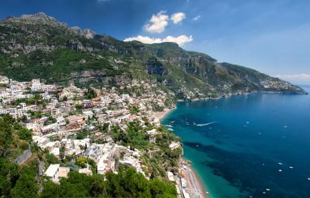 意大利波西塔诺 阿马尔菲海岸4K风景高端电脑桌面壁纸