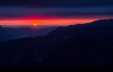 德国巴伐利亚州 山 日落4K风景高端电脑桌面壁纸