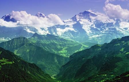 瑞士 伯尔尼阿尔卑斯山 少女峰4K风景高端电脑桌面壁纸