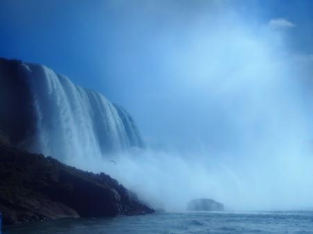 蓝天下的尼亚加拉大瀑布风景4K高端电脑桌面壁纸