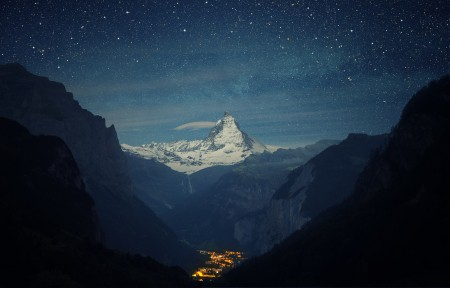 阿尔卑斯 马特峰 晚上 4K风景高端电脑桌面壁纸
