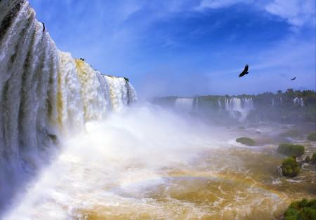 天空 鸟 彩虹 瀑布5风景图片
