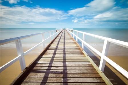码头 海洋 木桥 蓝天 5K风景高端电脑桌面壁纸