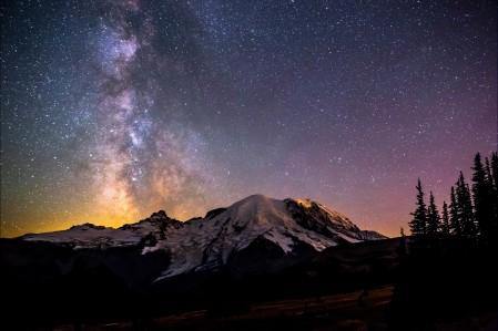 夜晚 山 星空 5K风景高端电脑桌面壁纸