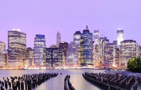 美国纽约 华尔街 摩天大楼 夜景 建筑物 城市风光4K超高清壁纸精选