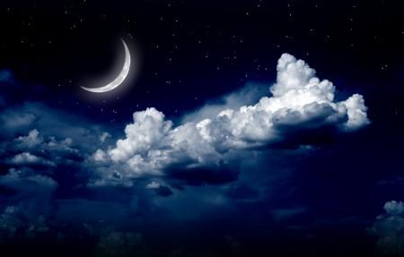 夜晚 月亮 月光 明月 云 星星 4K风景高端电脑桌面壁纸