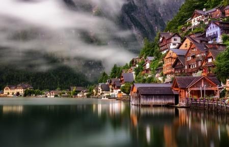 奥地利 房子 哈尔施塔特湖 4K风景高端电脑桌面壁纸