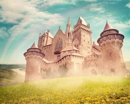 城堡 蒲公英 鲜花 彩虹 4K风景高端电脑桌面壁纸