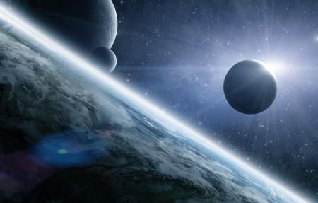 行星 日食 星星 月亮 4K星空高端电脑桌面壁纸
