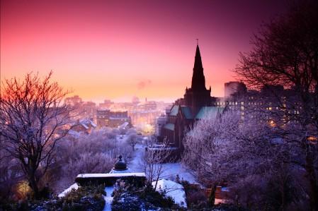 冬天 日落 城市风景4K高端电脑桌面壁纸