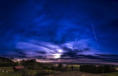 日落 天空 云 森林 乡村 牧场 全景5K风景高端电脑桌面壁纸