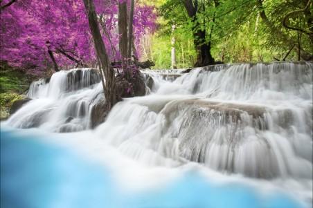 瀑布 多彩的树叶 水 树木 4K风景高端电脑桌面壁纸
