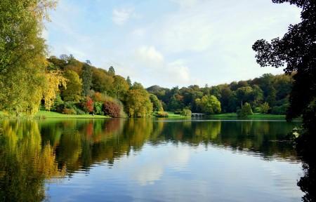秋天,公园,树木,桥梁,池塘,湖,5K自然风景图片