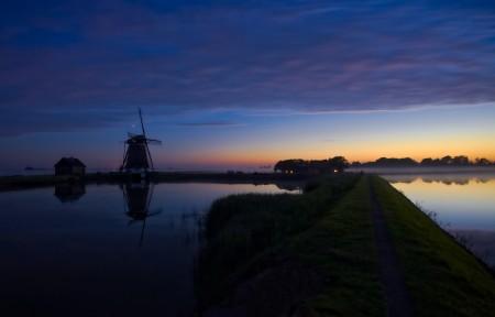 池塘 风车 特克塞尔 荷兰 夜 夏季 5K风景图片