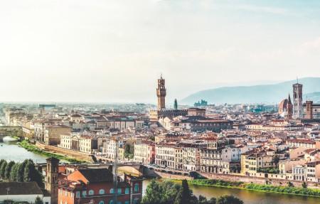 佛罗伦萨 意大利 天空 教会 托斯卡纳全景 塔 云 8K风景图片高端电脑桌面壁纸