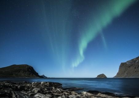 夜晚 北极光 罗弗敦 挪威 海滩 哥斯达黎加 冬天 蓝色星空4K高端电脑桌面壁纸