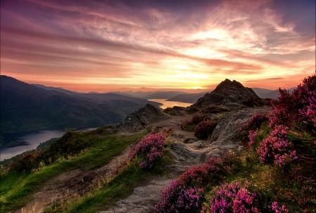 天空 草地 鲜花 山脉 河流 苏格兰 特罗萨克斯山国家公园 4K风景高端电脑桌面壁纸