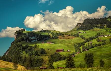 树 山 房子 瑞士风景5k风景图片高端电脑桌面壁纸