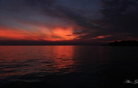 日落 海 云 5K风景图片