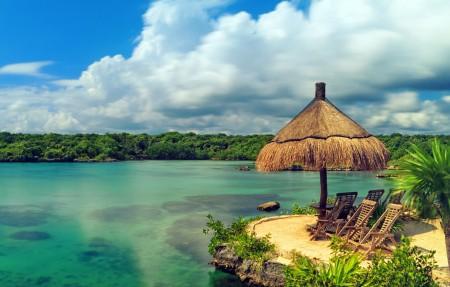 热带天堂海滩 海岸 4K风景高端电脑桌面壁纸图片