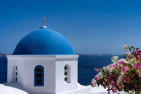 地中海 希腊蓝顶教堂