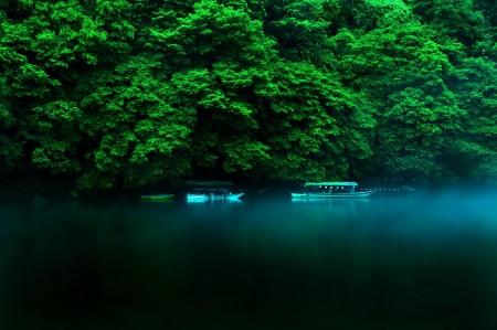 日本本州岛,自然风景,树林,湖水,船,4K风景图片高端电脑桌面壁纸