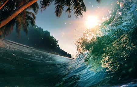 美丽日落 海波 4K风景高端电脑桌面壁纸图片
