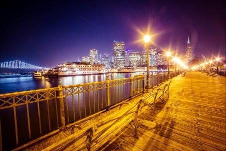 弗朗西斯科 海湾桥 晚上风景 4K高端电脑桌面壁纸