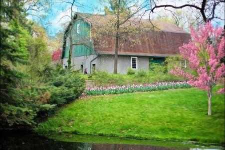 绿谷仓 春天 农场 自然 开花的树 5k风景图片
