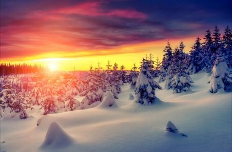 自然冬季雪天空4K风景图片