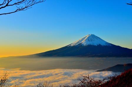 海的云 日出 富士山4k风景图片