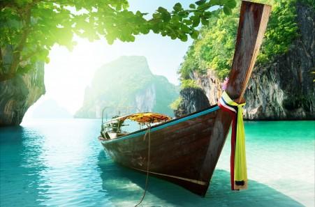 岛屿 大海 天空 云 树木 自然 海洋 船 泰国风景 5k高清高端电脑桌面壁纸