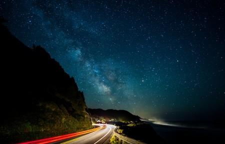 银河 道路 灯 路4K风景图片