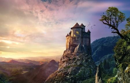 城堡 岩石石头 5K风景图片