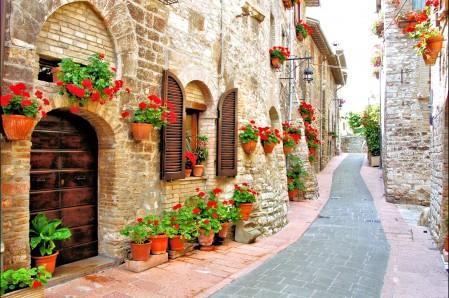 花 房子 意大利 街道 4K风景高端电脑桌面壁纸
