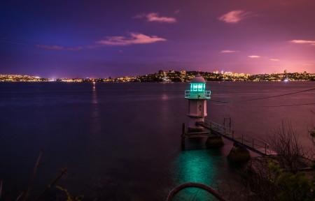 美丽的夜晚海边城市风景 mac 5k高清官方高端电脑桌面壁纸