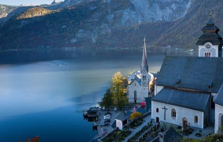 奥地利哈尔施塔特 山 湖 阿尔卑斯 4k风景图片