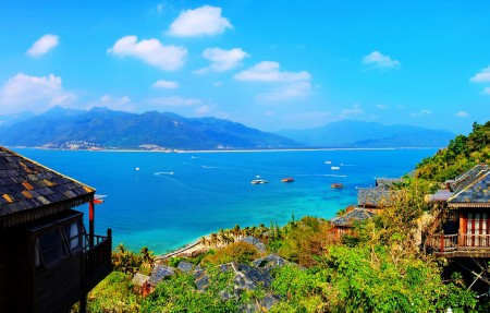 海南三亚陵水海景鸟瞰高清风景图片