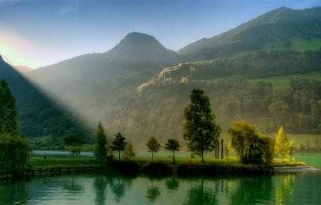 山,丘陵,树木,叶子,河,自然风景图片