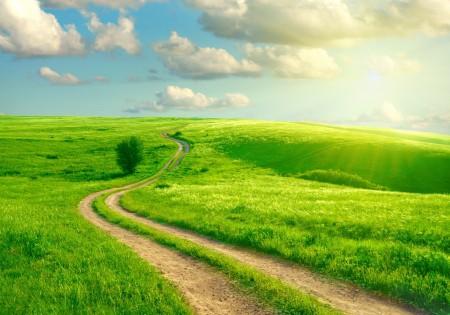 路,草地,天空云,绿色的风景图片