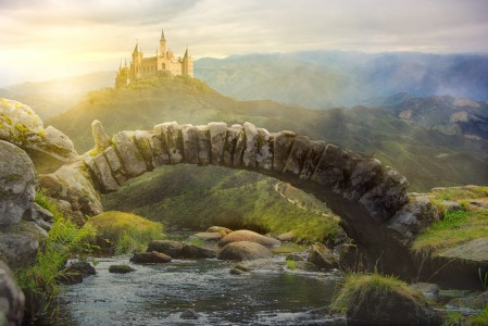 山涧的石桥城市风景4k图片