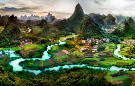 广西桂林山水风景全景鸟瞰摄影3440x1440带鱼屏高清高端电脑桌面壁纸