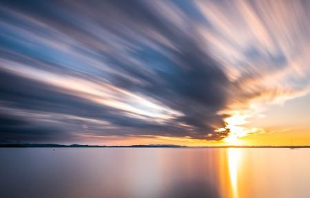 海边日落自然风景摄影3440x1440高端电脑桌面壁纸