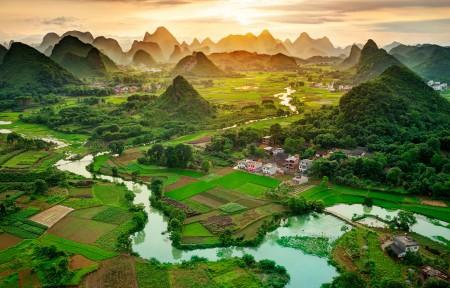 广西桂林山水风景摄影3440x1440高清高端电脑桌面壁纸
