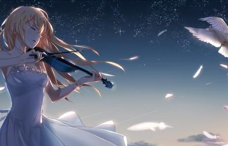 唯美天空 鸽子 拉小提琴的少女3440x1440高端电脑桌面壁纸