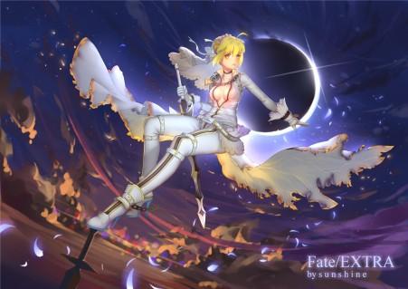 命运之夜 fate extra saber 4k动漫图片
