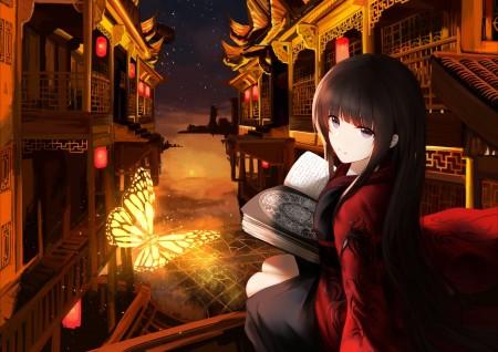 晚上 古典建筑 蝴蝶 日本动漫美女4k超高清壁纸推荐