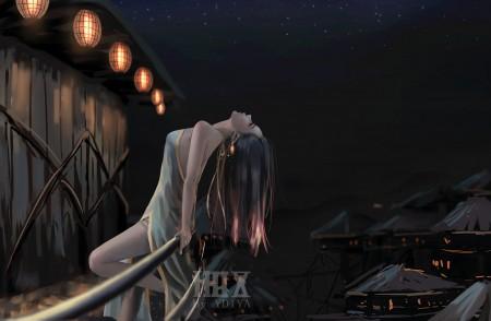 夜晚 星星 仰望星空 唯美长发旗袍动漫美女8k超高清壁纸推荐