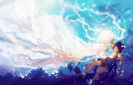 海底 水下 白色长裙子女生鱼 3440x1440动漫超高清壁纸推荐
